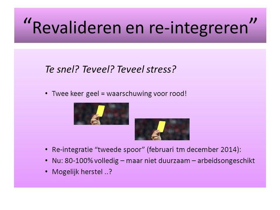 """"""" Revalideren en re-integreren """" Te snel? Teveel? Teveel stress? Twee keer geel = waarschuwing voor rood! Re-integratie """"tweede spoor"""" (februari tm de"""