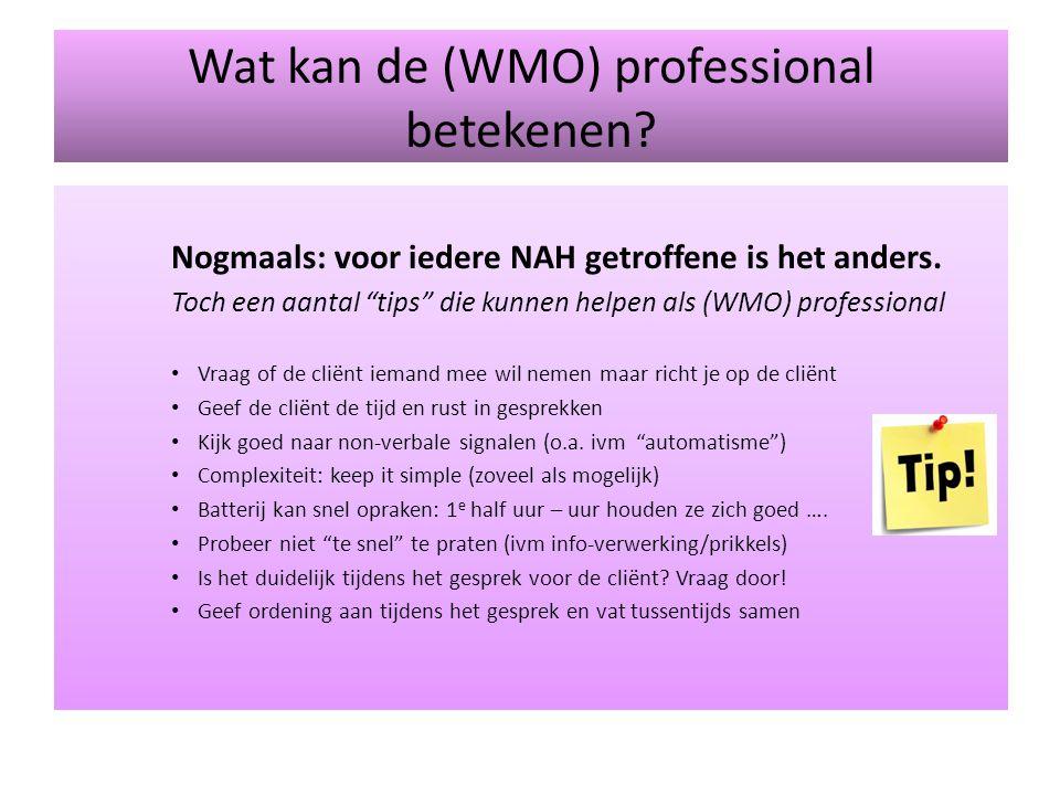"""Wat kan de (WMO) professional betekenen? Nogmaals: voor iedere NAH getroffene is het anders. Toch een aantal """"tips"""" die kunnen helpen als (WMO) profes"""