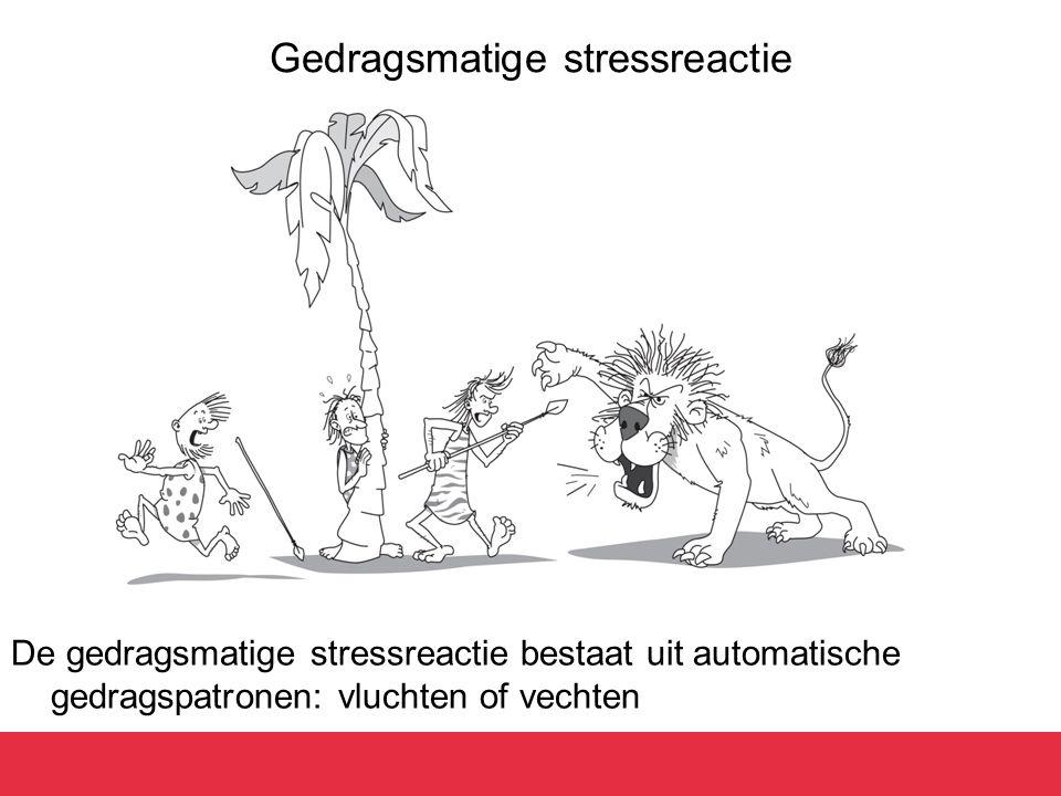 Gedragsmatige stressreactie De gedragsmatige stressreactie bestaat uit automatische gedragspatronen: vluchten of vechten