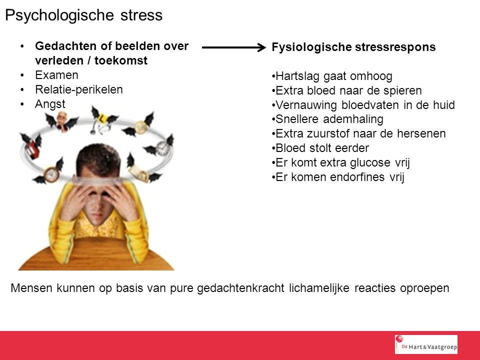 Psychologische stress Mensen kunnen op basis van pure gedachtenkracht lichamelijke reacties oproepen Gedachten of beelden over verleden / toekomst Exa