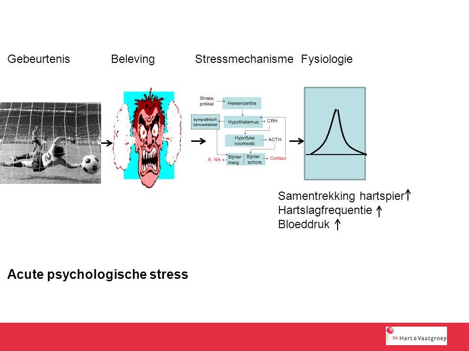 Samentrekking hartspier Hartslagfrequentie Bloeddruk Acute psychologische stress Gebeurtenis BelevingStressmechanisme Fysiologie