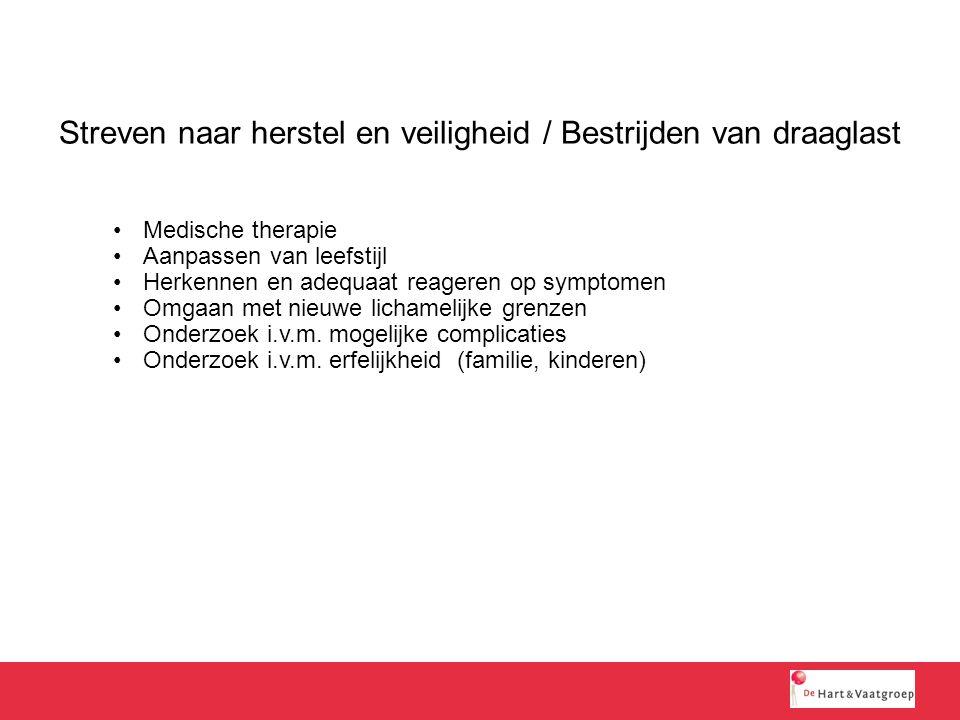 Streven naar herstel en veiligheid / Bestrijden van draaglast Medische therapie Aanpassen van leefstijl Herkennen en adequaat reageren op symptomen Om