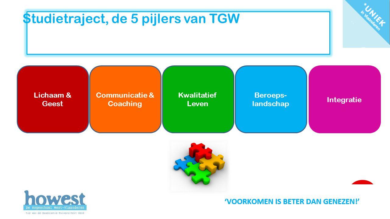 Studietraject, de 5 pijlers van TGW Lichaam & Geest Communicatie & Coaching Kwalitatief Leven Beroeps- landschap Integratie