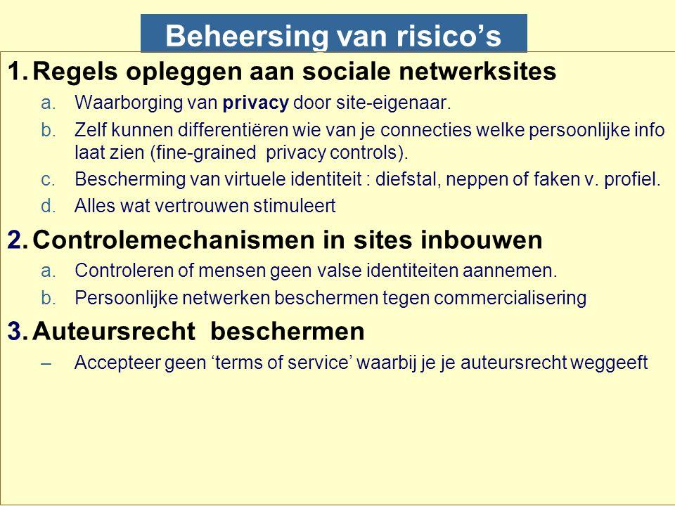 Beheersing van risico's 1.Regels opleggen aan sociale netwerksites a.Waarborging van privacy door site-eigenaar. b.Zelf kunnen differentiëren wie van