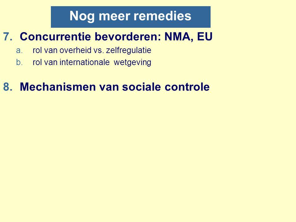 Nog meer remedies 7.Concurrentie bevorderen: NMA, EU a.rol van overheid vs. zelfregulatie b.rol van internationale wetgeving 8.Mechanismen van sociale