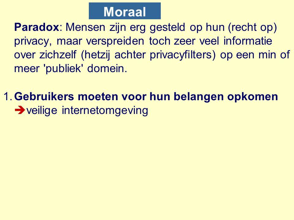 Moraal Paradox: Mensen zijn erg gesteld op hun (recht op) privacy, maar verspreiden toch zeer veel informatie over zichzelf (hetzij achter privacyfilt