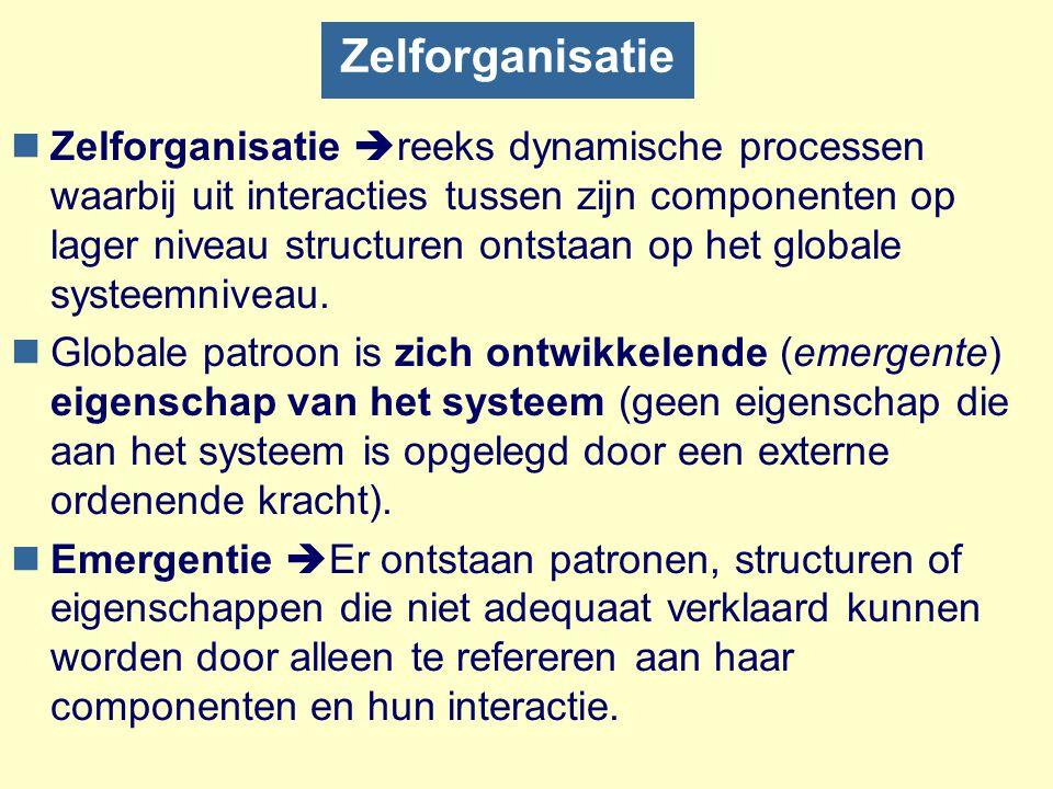 Zelforganisatie nZelforganisatie  reeks dynamische processen waarbij uit interacties tussen zijn componenten op lager niveau structuren ontstaan op h