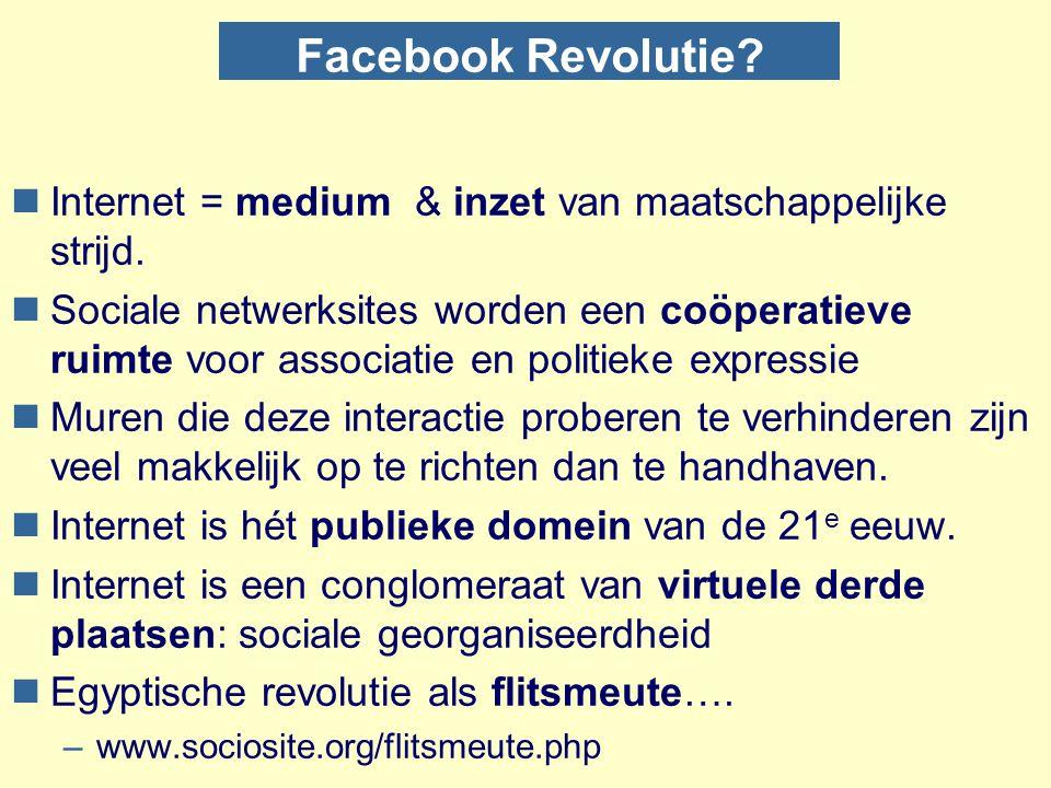 Facebook Revolutie? nInternet = medium & inzet van maatschappelijke strijd. nSociale netwerksites worden een coöperatieve ruimte voor associatie en po