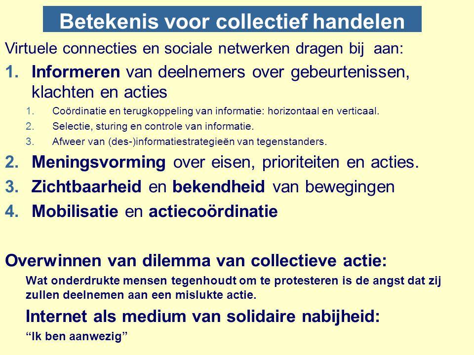 Betekenis voor collectief handelen 1.Informeren van deelnemers over gebeurtenissen, klachten en acties 1.Coördinatie en terugkoppeling van informatie: