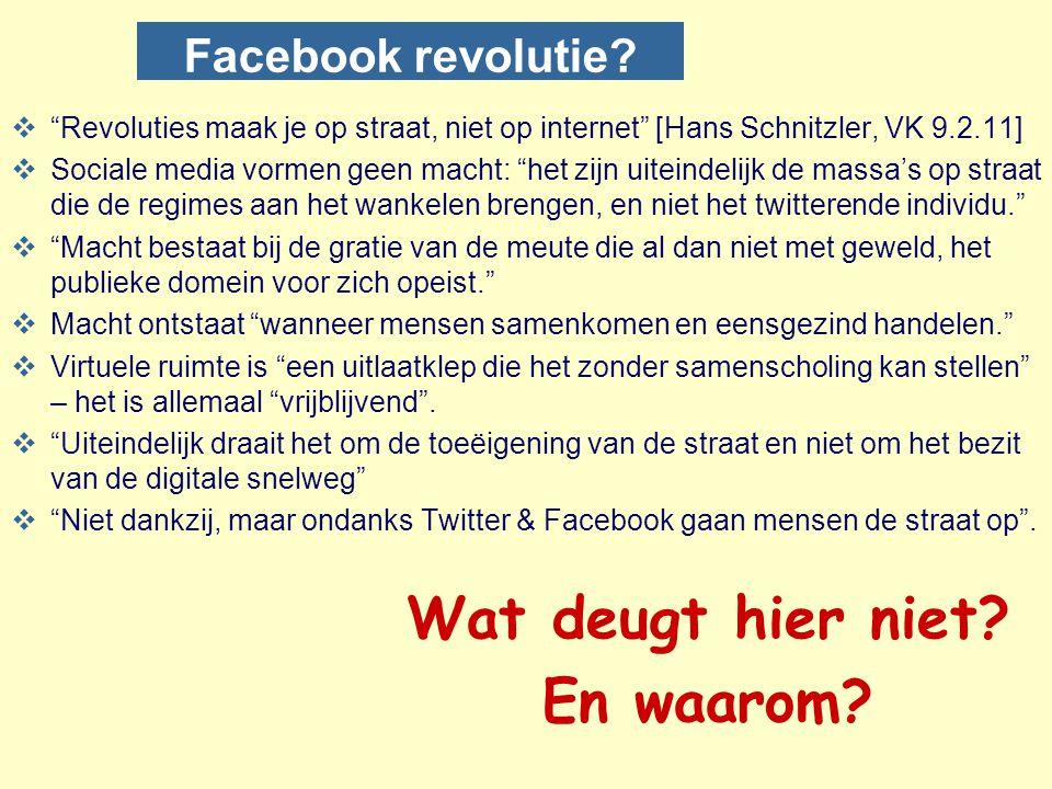 """Facebook revolutie?  """"Revoluties maak je op straat, niet op internet"""" [Hans Schnitzler, VK 9.2.11]  Sociale media vormen geen macht: """"het zijn uitei"""