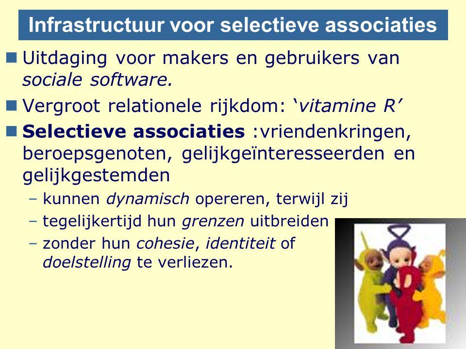 Infrastructuur voor selectieve associaties nUitdaging voor makers en gebruikers van sociale software. nVergroot relationele rijkdom: 'vitamine R' nSel