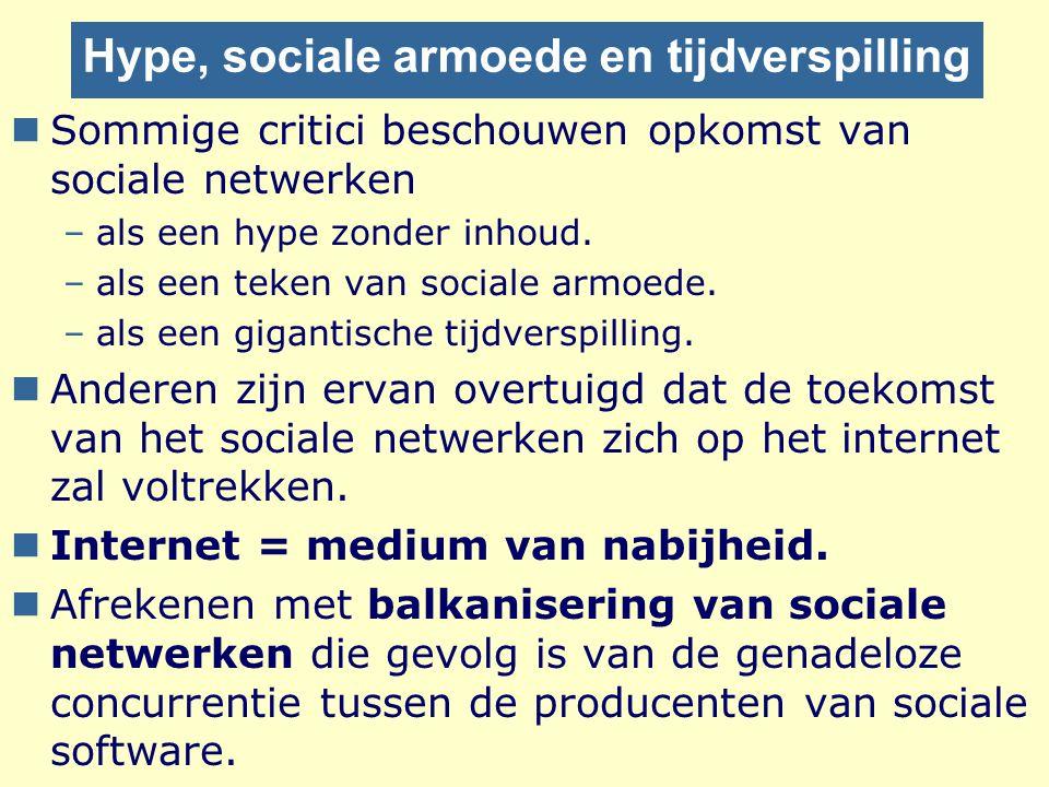 Hype, sociale armoede en tijdverspilling nSommige critici beschouwen opkomst van sociale netwerken –als een hype zonder inhoud. –als een teken van soc