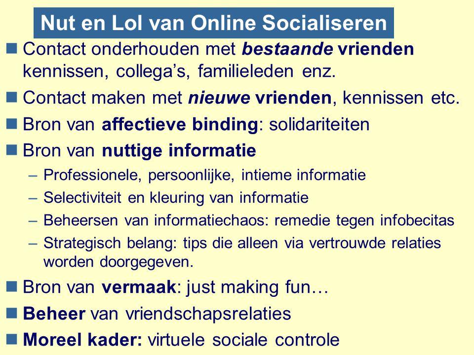 Nut en Lol van Online Socialiseren nContact onderhouden met bestaande vrienden kennissen, collega's, familieleden enz. nContact maken met nieuwe vrien