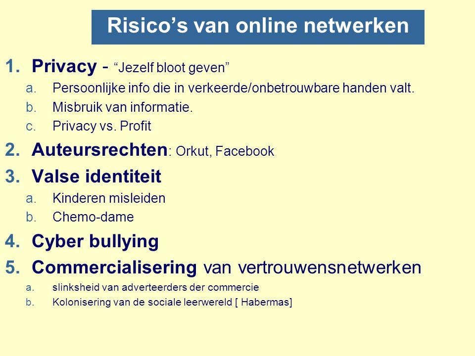 """Risico's van online netwerken 1.Privacy - """"Jezelf bloot geven"""" a.Persoonlijke info die in verkeerde/onbetrouwbare handen valt. b.Misbruik van informat"""