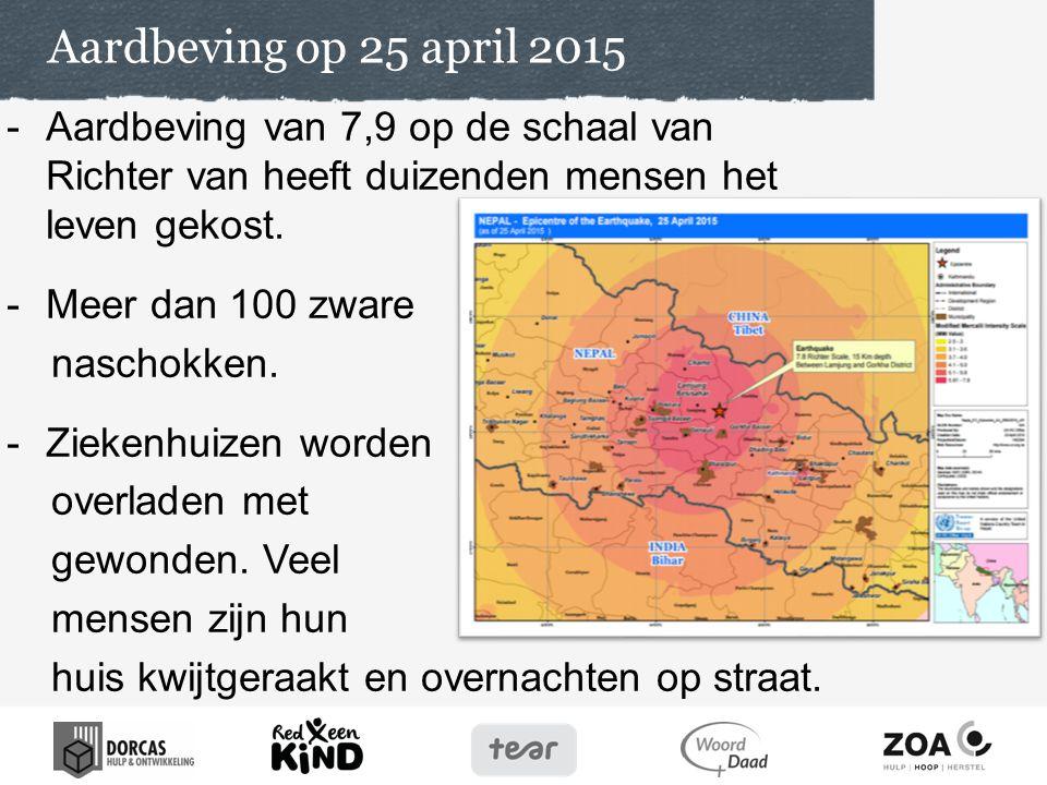 Aardbeving op 25 april 2015 -Aardbeving van 7,9 op de schaal van Richter van heeft duizenden mensen het leven gekost.