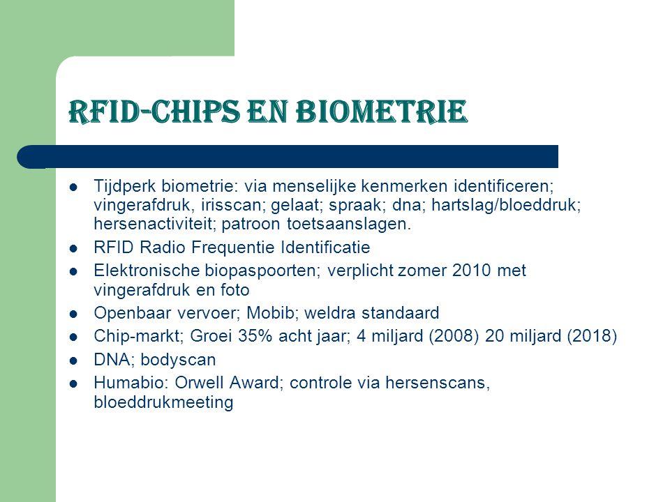 RFID-chips en biometrie Tijdperk biometrie: via menselijke kenmerken identificeren; vingerafdruk, irisscan; gelaat; spraak; dna; hartslag/bloeddruk; h