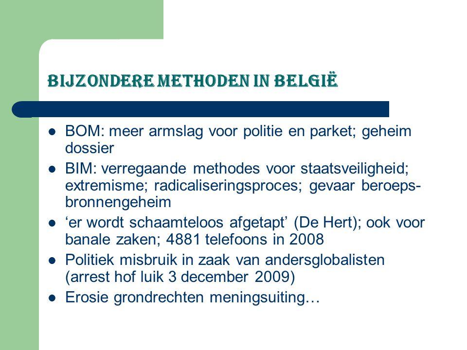 bijzondere methoden in België BOM: meer armslag voor politie en parket; geheim dossier BIM: verregaande methodes voor staatsveiligheid; extremisme; ra
