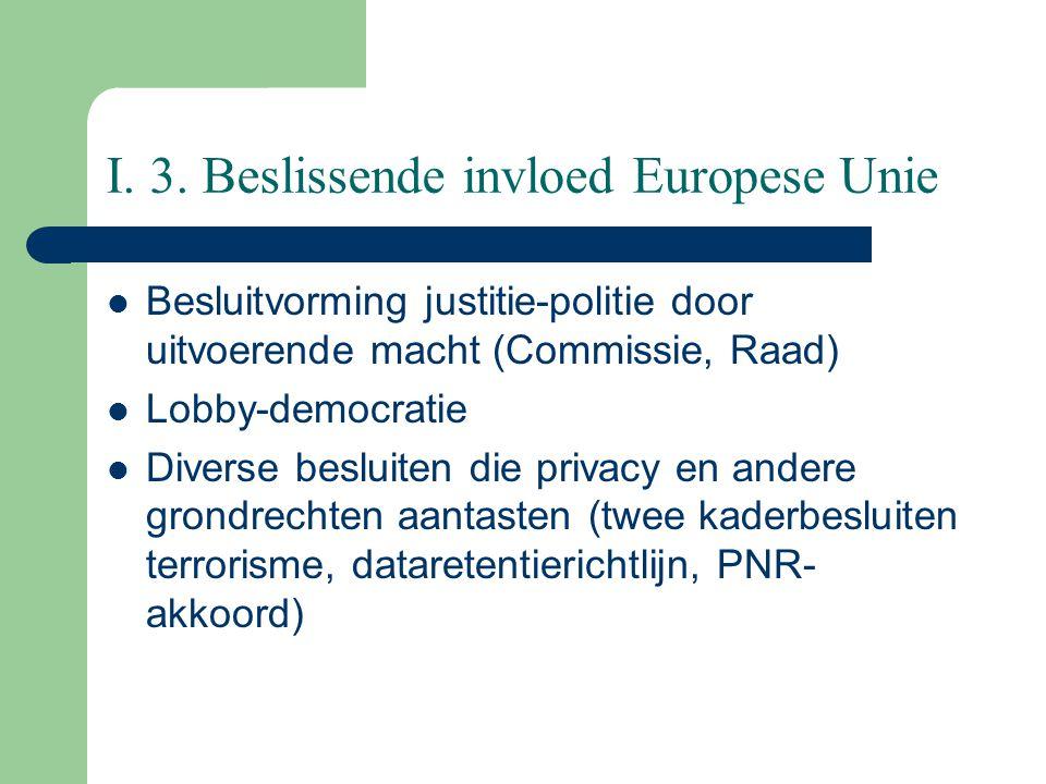 I. 3. Beslissende invloed Europese Unie Besluitvorming justitie-politie door uitvoerende macht (Commissie, Raad) Lobby-democratie Diverse besluiten di