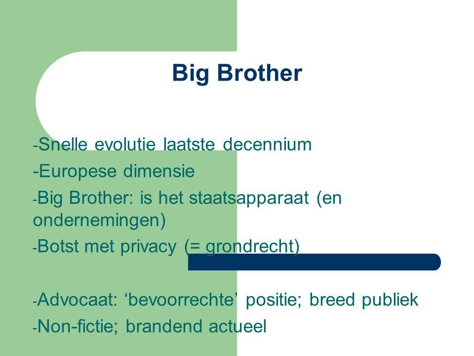 Big Brother - Snelle evolutie laatste decennium -Europese dimensie - Big Brother: is het staatsapparaat (en ondernemingen) - Botst met privacy (= gron