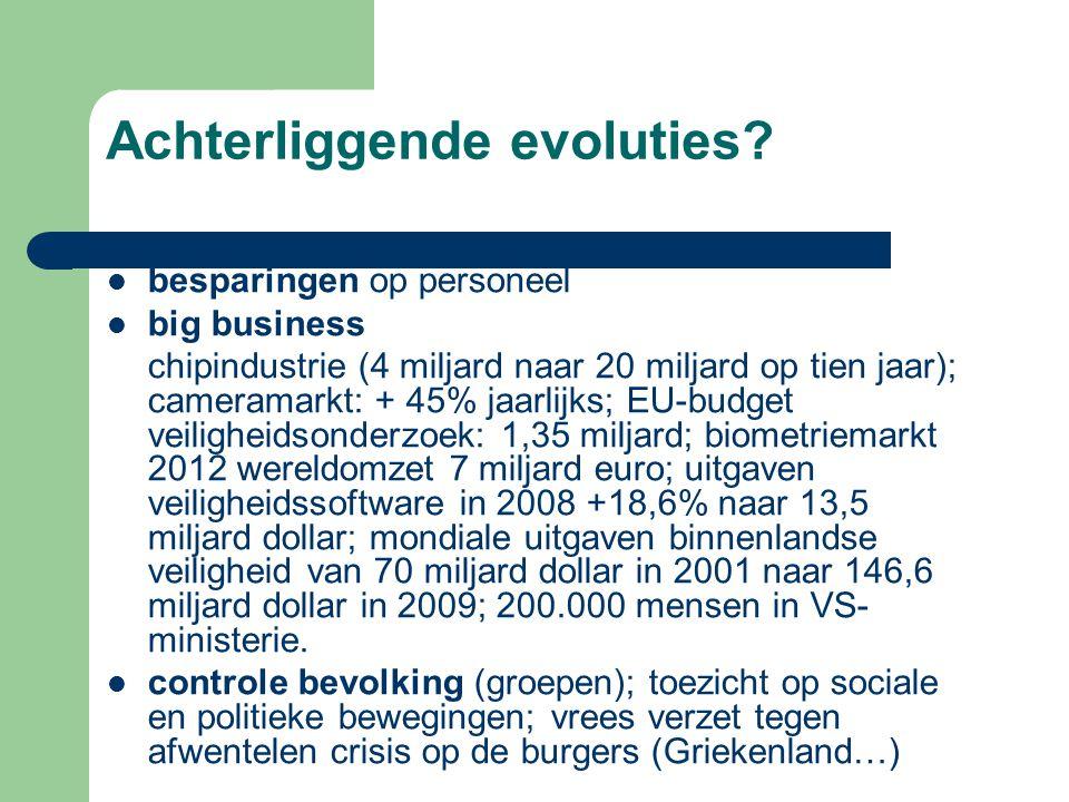 besparingen op personeel big business chipindustrie (4 miljard naar 20 miljard op tien jaar); cameramarkt: + 45% jaarlijks; EU-budget veiligheidsonder