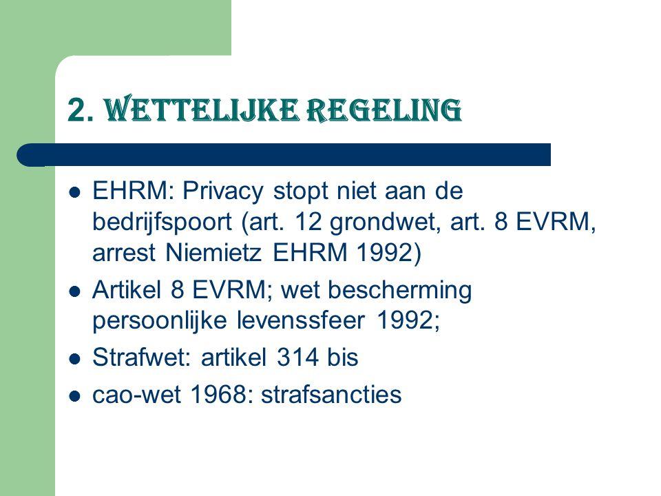 2. Wettelijke regeling EHRM: Privacy stopt niet aan de bedrijfspoort (art. 12 grondwet, art. 8 EVRM, arrest Niemietz EHRM 1992) Artikel 8 EVRM; wet be