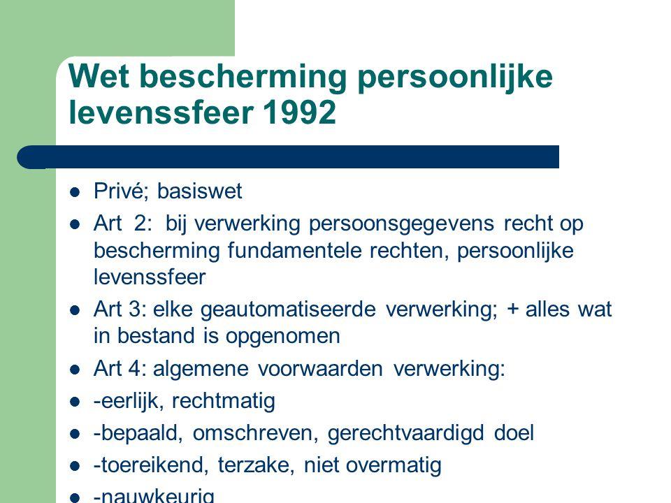 Wet bescherming persoonlijke levenssfeer 1992 Privé; basiswet Art 2: bij verwerking persoonsgegevens recht op bescherming fundamentele rechten, persoo