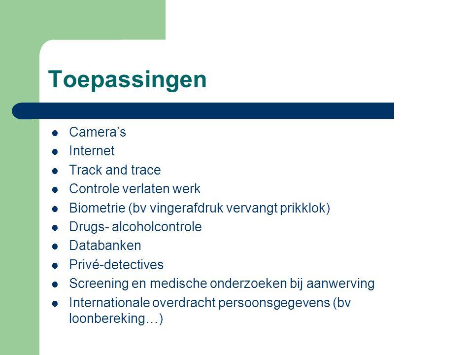 Toepassingen Camera's Internet Track and trace Controle verlaten werk Biometrie (bv vingerafdruk vervangt prikklok) Drugs- alcoholcontrole Databanken