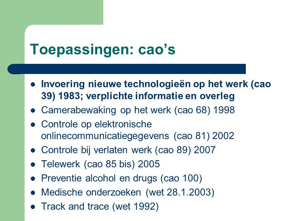 Toepassingen: cao's Invoering nieuwe technologieën op het werk (cao 39) 1983; verplichte informatie en overleg Camerabewaking op het werk (cao 68) 199