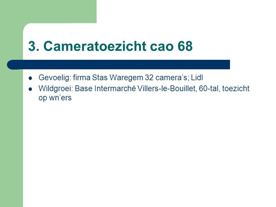 3. Cameratoezicht cao 68 Gevoelig: firma Stas Waregem 32 camera's; Lidl Wildgroei: Base Intermarché Villers-le-Bouillet, 60-tal, toezicht op wn'ers