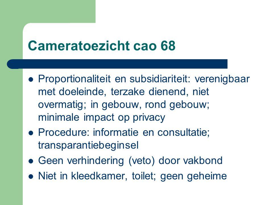 Cameratoezicht cao 68 Proportionaliteit en subsidiariteit: verenigbaar met doeleinde, terzake dienend, niet overmatig; in gebouw, rond gebouw; minimal