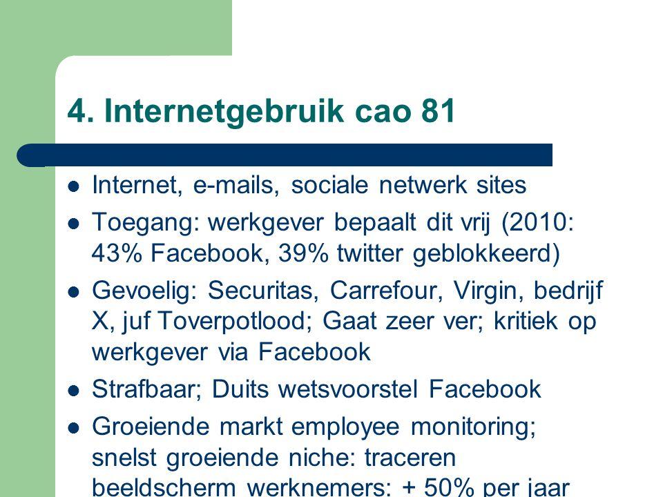 4. Internetgebruik cao 81 Internet, e-mails, sociale netwerk sites Toegang: werkgever bepaalt dit vrij (2010: 43% Facebook, 39% twitter geblokkeerd) G