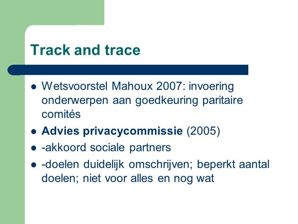 Track and trace Wetsvoorstel Mahoux 2007: invoering onderwerpen aan goedkeuring paritaire comités Advies privacycommissie (2005) -akkoord sociale part