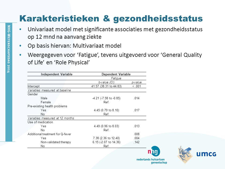 Karakteristieken & gezondheidsstatus Univariaat model met significante associaties met gezondheidsstatus op 12 mnd na aanvang ziekte Op basis hiervan: