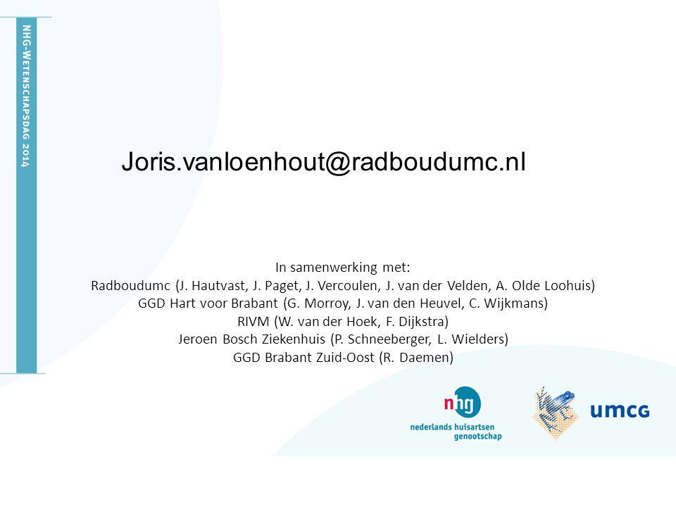 In samenwerking met: Radboudumc (J. Hautvast, J. Paget, J. Vercoulen, J. van der Velden, A. Olde Loohuis) GGD Hart voor Brabant (G. Morroy, J. van den