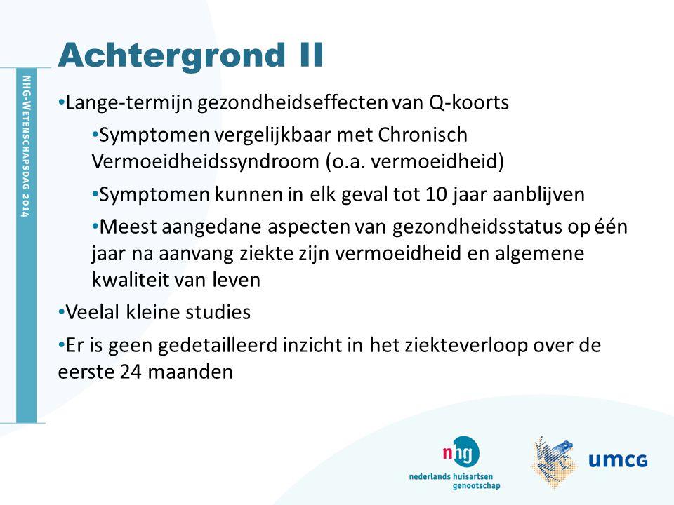 Achtergrond II Lange-termijn gezondheidseffecten van Q-koorts Symptomen vergelijkbaar met Chronisch Vermoeidheidssyndroom (o.a. vermoeidheid) Symptome