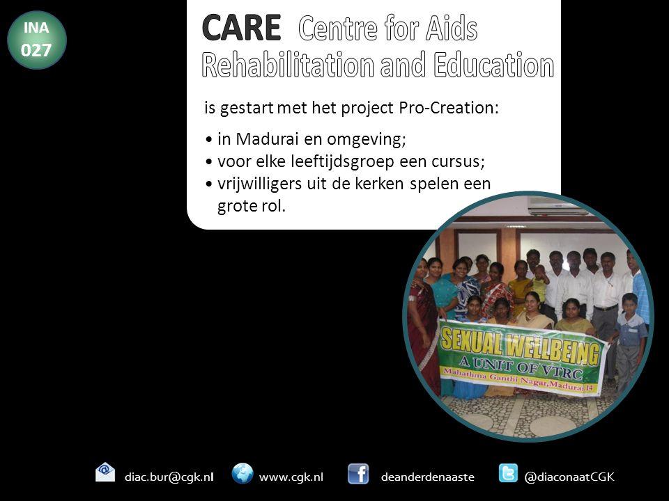 is gestart met het project Pro-Creation: in Madurai en omgeving; voor elke leeftijdsgroep een cursus; vrijwilligers uit de kerken spelen een grote rol.