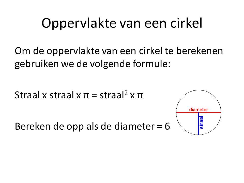 Oppervlakte van een cirkel Om de oppervlakte van een cirkel te berekenen gebruiken we de volgende formule: Straal x straal x π = straal 2 x π Bereken de opp als de diameter = 6