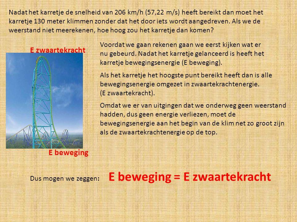 Nadat het karretje de snelheid van 206 km/h (57,22 m/s) heeft bereikt dan moet het karretje 130 meter klimmen zonder dat het door iets wordt aangedrev
