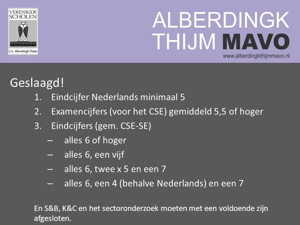 1.Eindcijfer Nederlands minimaal 5 2.Examencijfers (voor het CSE) gemiddeld 5,5 of hoger 3.Eindcijfers (gem.