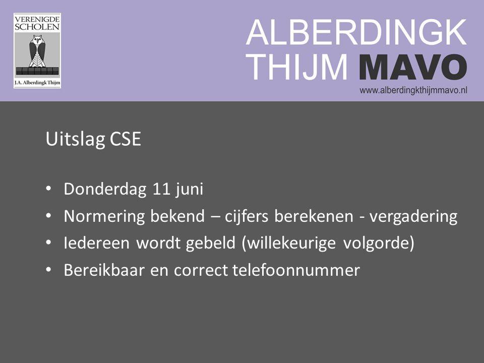 Uitslag CSE Donderdag 11 juni Normering bekend – cijfers berekenen - vergadering Iedereen wordt gebeld (willekeurige volgorde) Bereikbaar en correct telefoonnummer