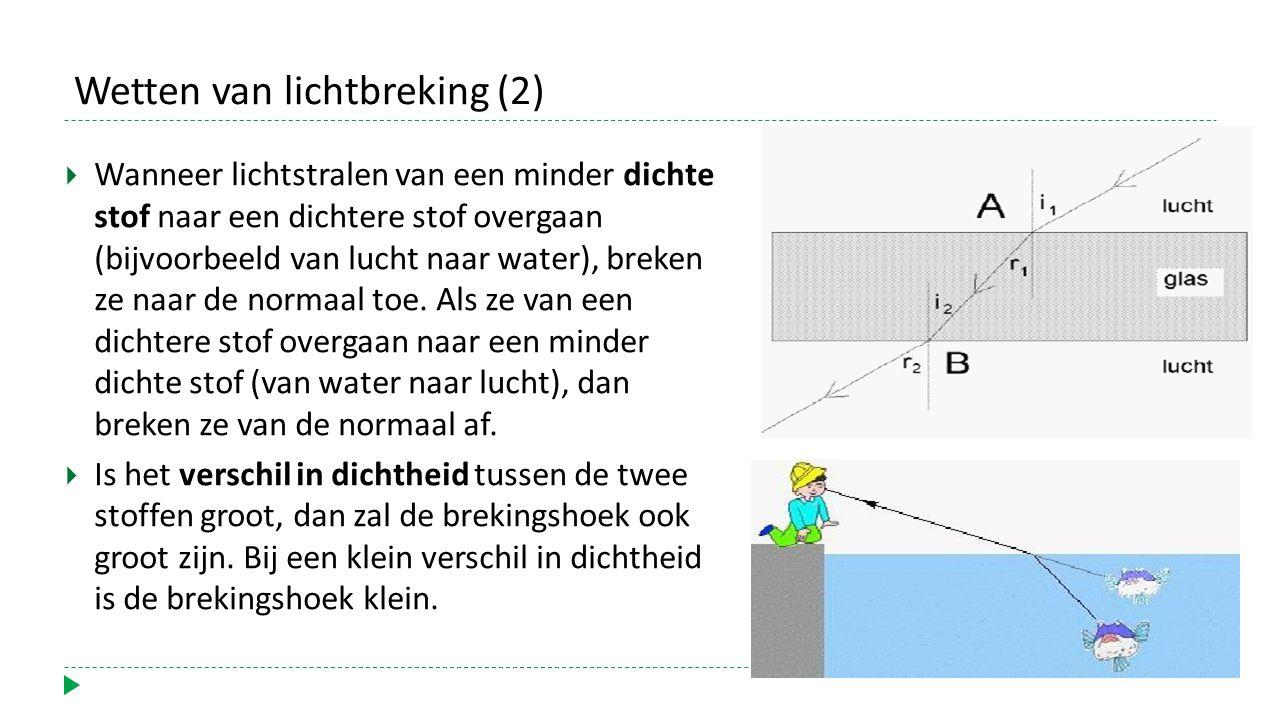 Wetten van lichtbreking (2)  Wanneer lichtstralen van een minder dichte stof naar een dichtere stof overgaan (bijvoorbeeld van lucht naar water), breken ze naar de normaal toe.