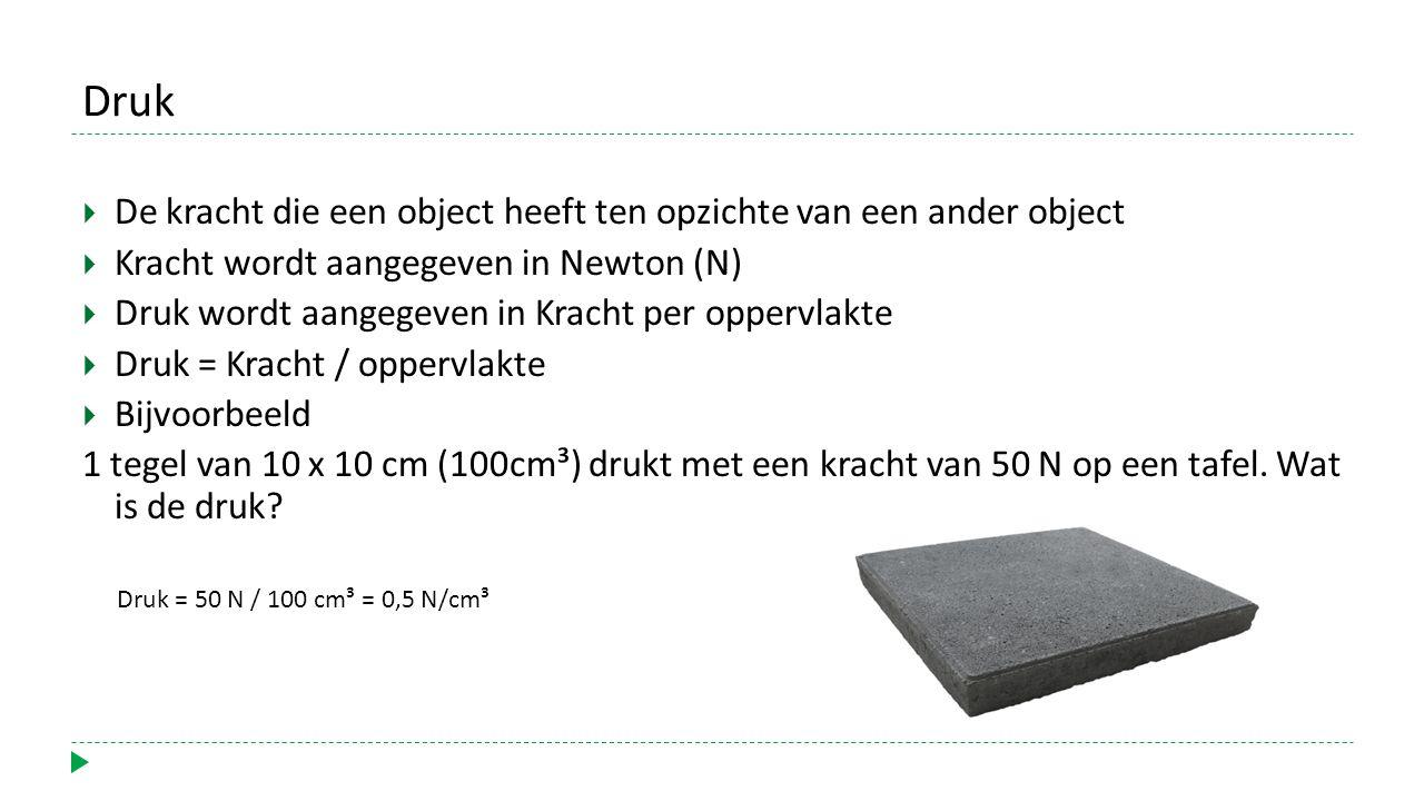 Druk  De kracht die een object heeft ten opzichte van een ander object  Kracht wordt aangegeven in Newton (N)  Druk wordt aangegeven in Kracht per oppervlakte  Druk = Kracht / oppervlakte  Bijvoorbeeld 1 tegel van 10 x 10 cm (100cm³) drukt met een kracht van 50 N op een tafel.