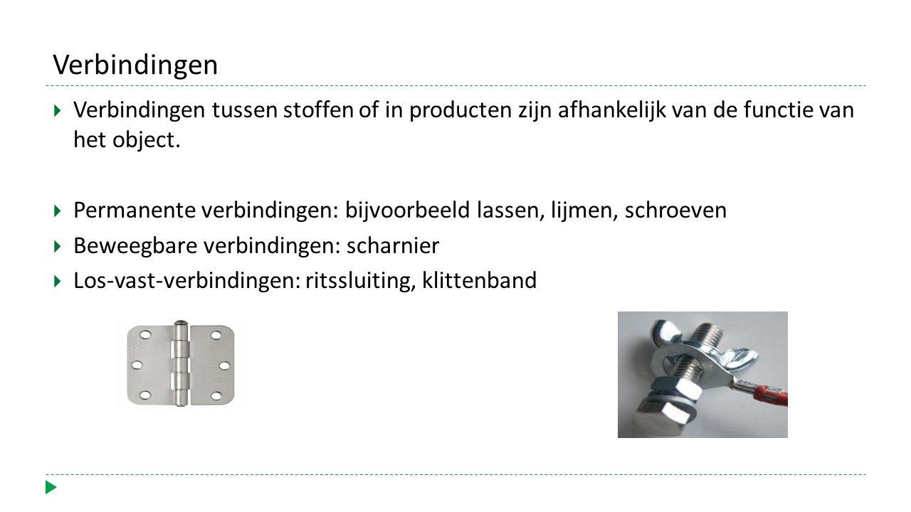 Verbindingen  Verbindingen tussen stoffen of in producten zijn afhankelijk van de functie van het object.