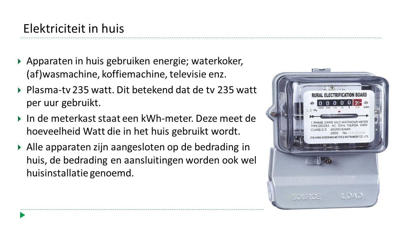 Elektriciteit in huis  Apparaten in huis gebruiken energie; waterkoker, (af)wasmachine, koffiemachine, televisie enz.