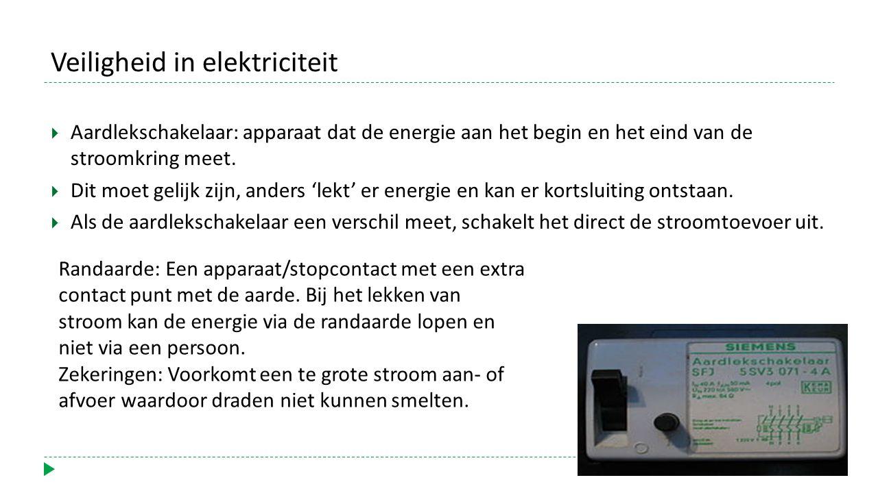 Veiligheid in elektriciteit  Aardlekschakelaar: apparaat dat de energie aan het begin en het eind van de stroomkring meet.