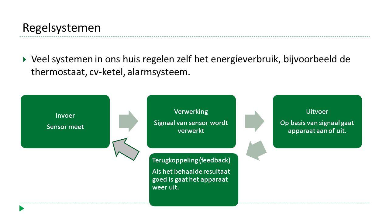 Regelsystemen  Veel systemen in ons huis regelen zelf het energieverbruik, bijvoorbeeld de thermostaat, cv-ketel, alarmsysteem.