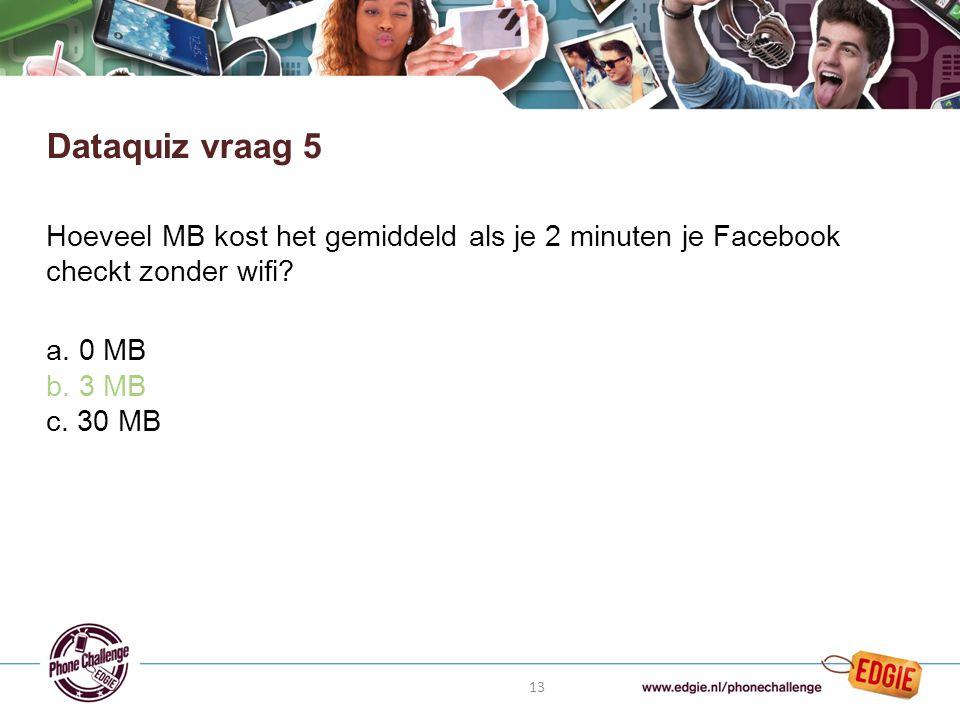 13 Hoeveel MB kost het gemiddeld als je 2 minuten je Facebook checkt zonder wifi.