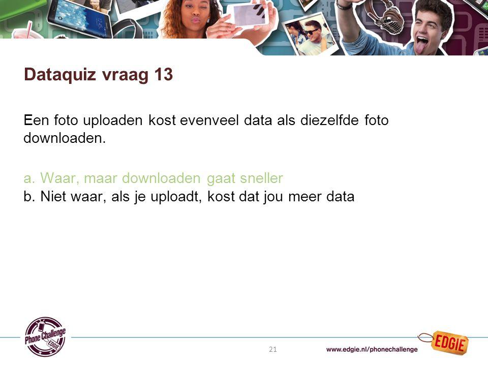 21 Een foto uploaden kost evenveel data als diezelfde foto downloaden.