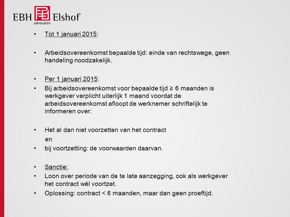 Tot 1 januari 2015: Arbeidsovereenkomst bepaalde tijd: einde van rechtswege, geen handeling noodzakelijk. Per 1 januari 2015: Bij arbeidsovereenkomst