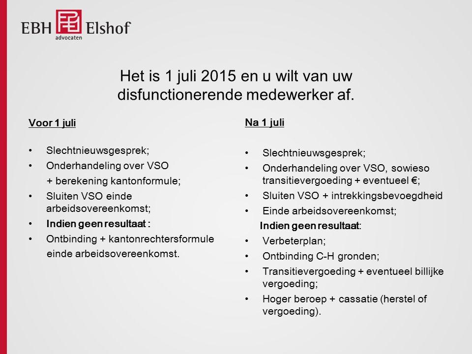 Het is 1 juli 2015 en u wilt van uw disfunctionerende medewerker af. Voor 1 juli Slechtnieuwsgesprek; Onderhandeling over VSO + berekening kantonformu